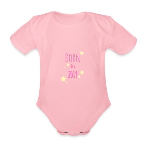 Born in 2019 Pink - Organic Short-sleeved Baby Bodysuit