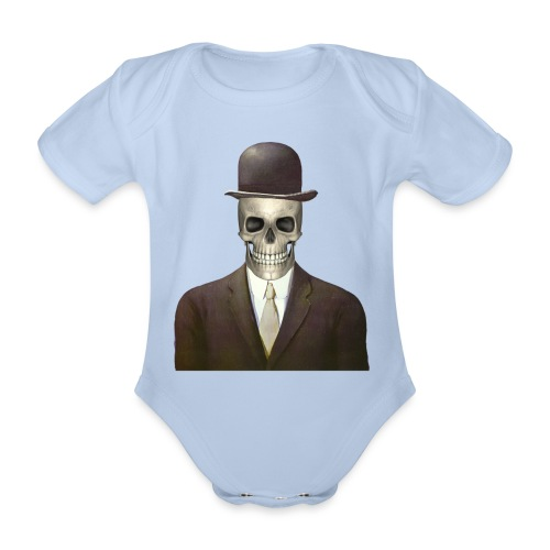 magritte skull - Body ecologico per neonato a manica corta