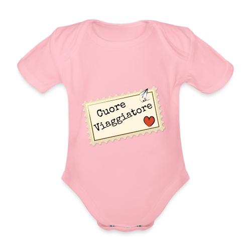 CUORE VIAGGIATORE Scritta con aeroplanino e cuore - Body ecologico per neonato a manica corta