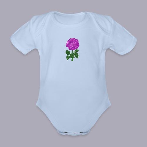 Landryn Design - Pink rose - Organic Short-sleeved Baby Bodysuit