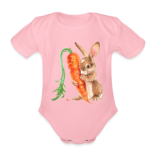 konijntje met wortel - Organic Short-sleeved Baby Bodysuit