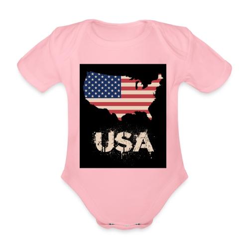 USA FLAG 4th of July With Flag - Ekologisk kortärmad babybody