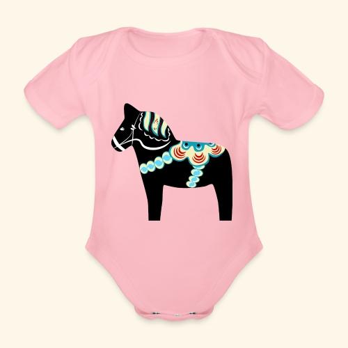 Svart dalahäst - Ekologisk kortärmad babybody