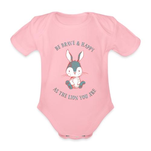 Brave rabbit - Organic Short-sleeved Baby Bodysuit