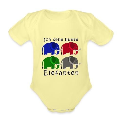 Vier Elefanten (Grafik) - Baby Bio-Kurzarm-Body
