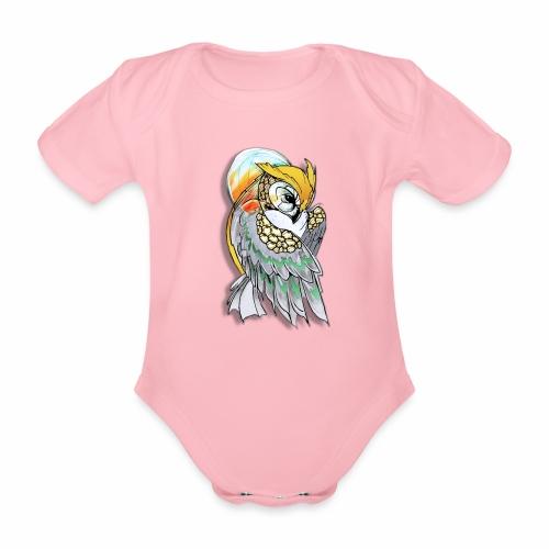 Cosmic owl - Body orgánico de maga corta para bebé