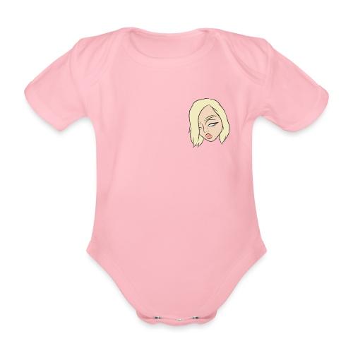 SanneTube Logo gezicht - Baby bio-rompertje met korte mouwen