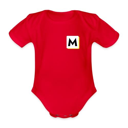 stor logo hvid - Kortærmet babybody, økologisk bomuld