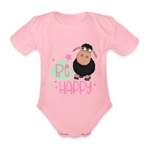 Schwarzes Schaf - be happy Schaf Glückliches Schaf - Baby Bio-Kurzarm-Body