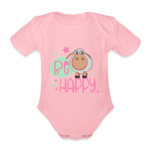 Be happy Schaf - Glückliches Schaf - Glücksschaf - Baby Bio-Kurzarm-Body