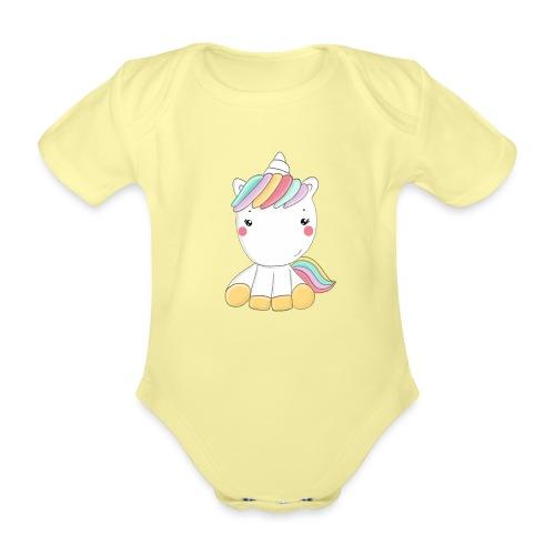 Niedliches Zauber Kawaii Einhorn in Pastelfarben - Baby Bio-Kurzarm-Body
