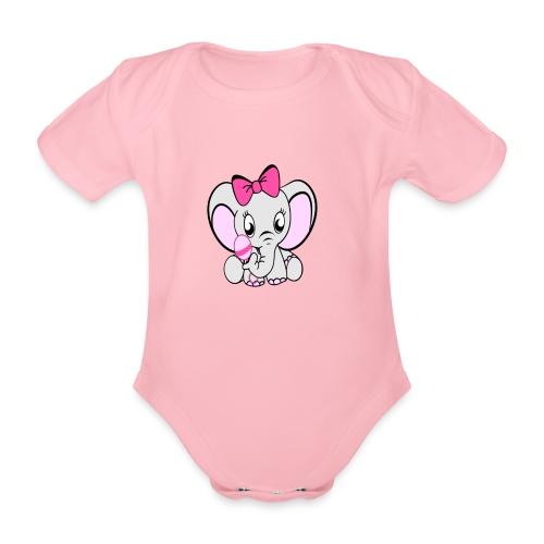 Baby olifantje met rammelaar en grote roze strik - Baby bio-rompertje met korte mouwen