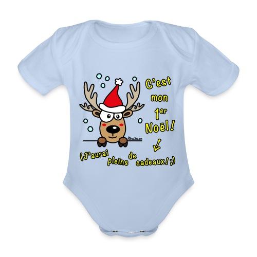 Renne - C'est mon Premier Noël - Cadeaux Drôles - Body Bébé bio manches courtes