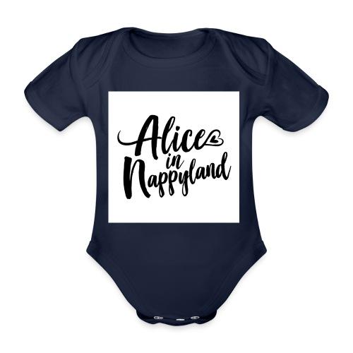 Alice in Nappyland Typography Black 1080 1 - Organic Short-sleeved Baby Bodysuit