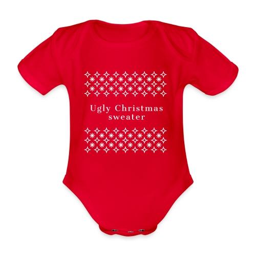 ugly Christmas sweater, maglione natalizio - Body ecologico per neonato a manica corta