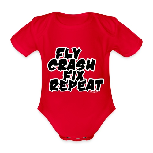 FlyCrashFixRepeat signed - Organic Short-sleeved Baby Bodysuit