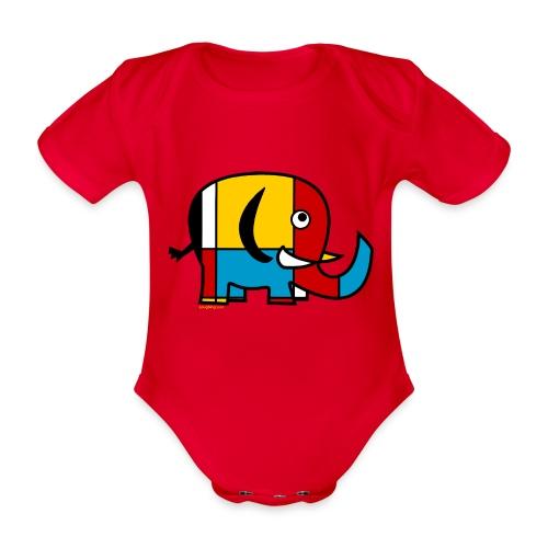 Mondrian Elephant - Organic Short-sleeved Baby Bodysuit