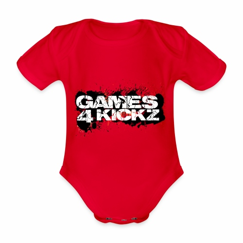 Games4Kickz Logo Splattered Background - Organic Short-sleeved Baby Bodysuit