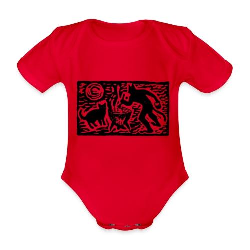 Teufel mit Katze - Baby Bio-Kurzarm-Body