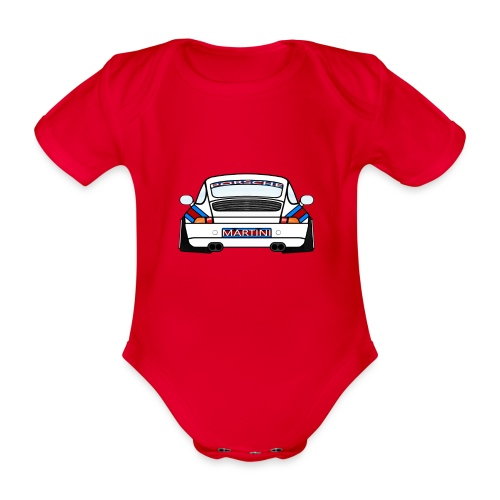 White Sports Car Maritini Livery - Organic Short-sleeved Baby Bodysuit