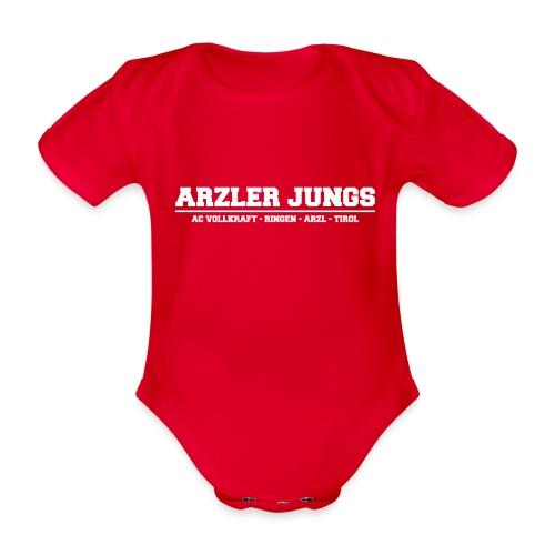 Arzler Jungs Schriftzug weiß - Baby Bio-Kurzarm-Body