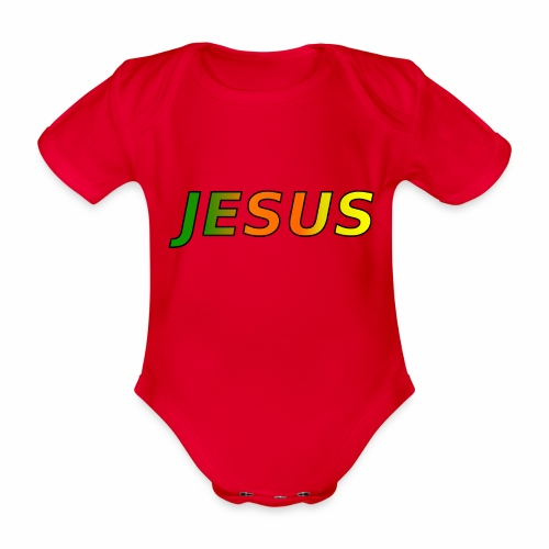 JESUS - grün/orange/gelb - Baby Bio-Kurzarm-Body