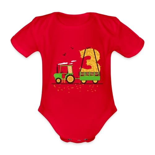 Traktor mit Anhänger 3. Geburtstag Geschenk Drei - Baby Bio-Kurzarm-Body