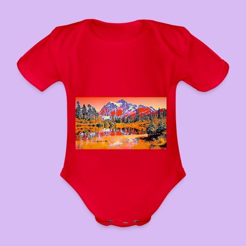 Montagne rosse punteggiate - Body ecologico per neonato a manica corta
