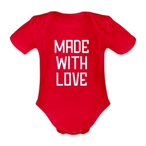 Made with love (wit) - Baby bio-rompertje met korte mouwen