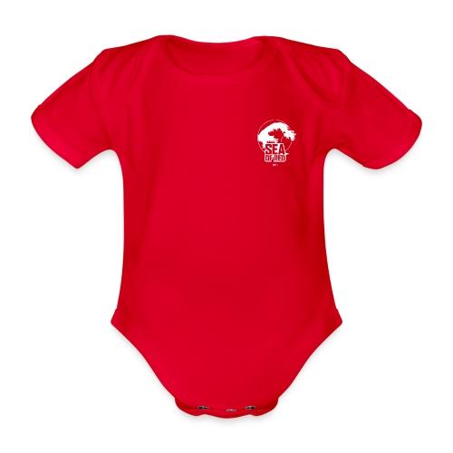 Sea of red logo - white small - Organic Short-sleeved Baby Bodysuit