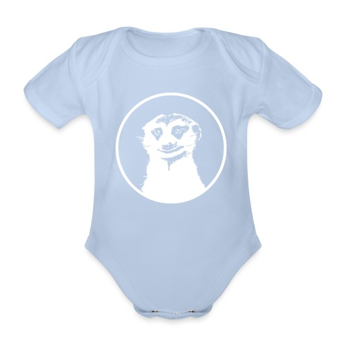 Stokstaartje groot rond diapositief - Baby bio-rompertje met korte mouwen
