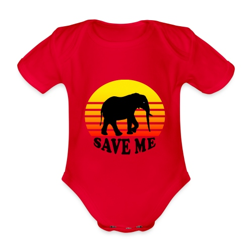 Elefant SAVE ME Schattenriss Sonne - Baby Bio-Kurzarm-Body