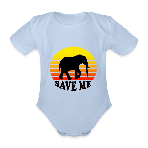 Elefant SAVE ME Schattenriss Sonne - Baby Bio-Kurzarm-Body
