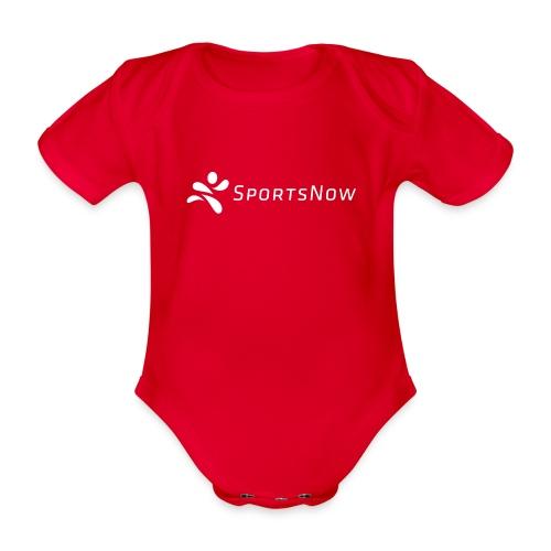 SportsNow-Logo Weiss - Baby Bio-Kurzarm-Body