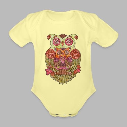 Owl Family - Organic Short-sleeved Baby Bodysuit