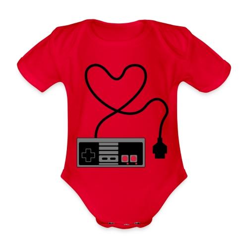 NES Controller Heart - Organic Short-sleeved Baby Bodysuit