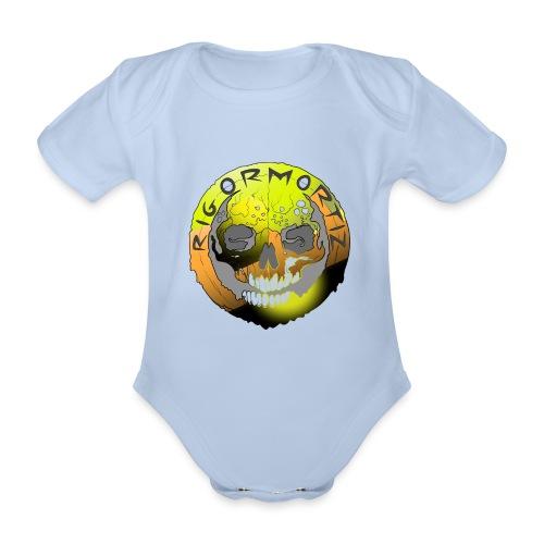 Rigormortiz Metallic Yellow Orange Design - Organic Short-sleeved Baby Bodysuit
