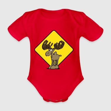 Caution Moose Moose - Organic Short-sleeved Baby Bodysuit