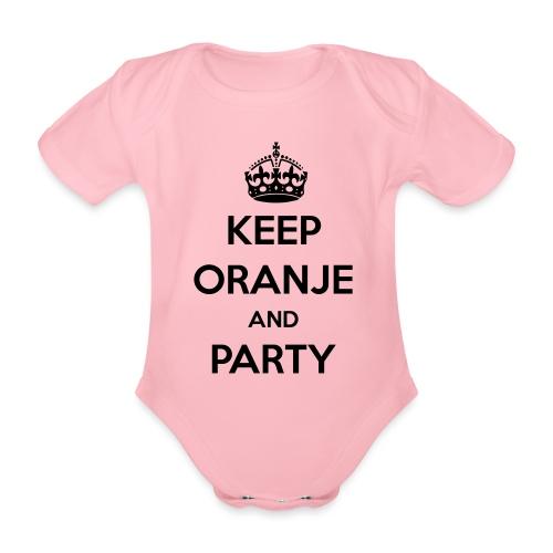 KEEP ORANJE AND PARTY - Baby bio-rompertje met korte mouwen