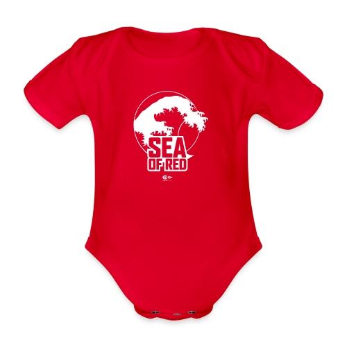 Sea of red logo - white - Organic Short-sleeved Baby Bodysuit