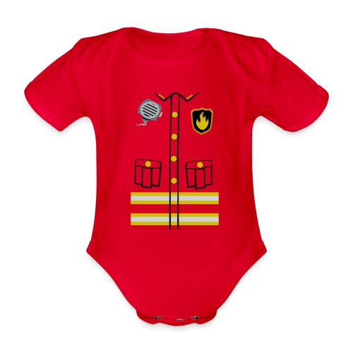Firefighter Costume - Organic Short-sleeved Baby Bodysuit