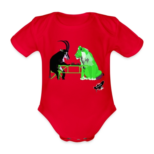 Playing Senet by BlackenedMoonArts, green w. logo - Kortærmet babybody, økologisk bomuld