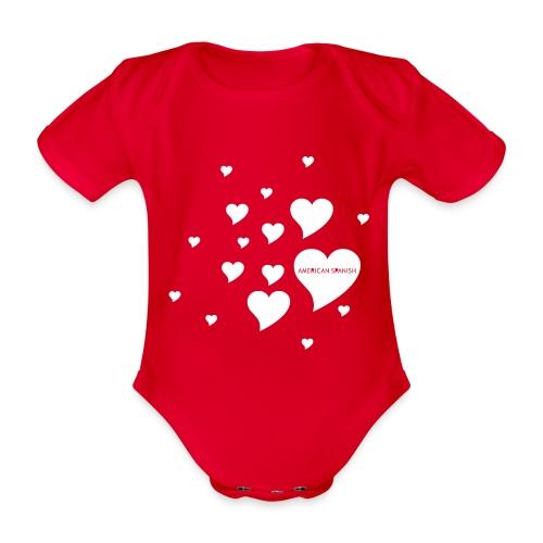 American Spanish Corazones - Body orgánico de maga corta para bebé