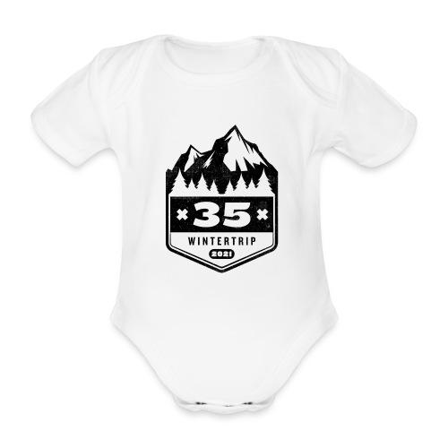35 ✕ WINTERTRIP ✕ 2021 • BLACK - Baby bio-rompertje met korte mouwen