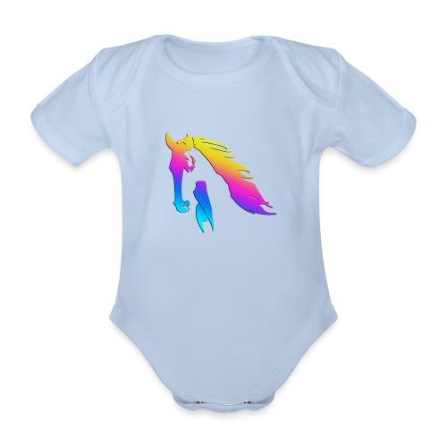 Cheval arc en ciel - Body Bébé bio manches courtes