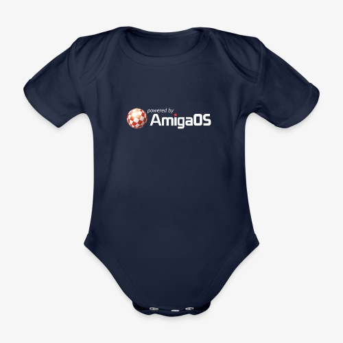 PoweredByAmigaOS white - Organic Short-sleeved Baby Bodysuit