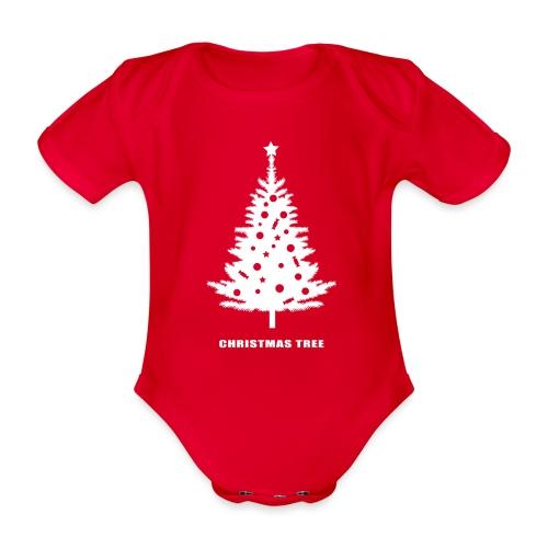 christmas tree, christmas, new year, rockefeller - Organic Short-sleeved Baby Bodysuit