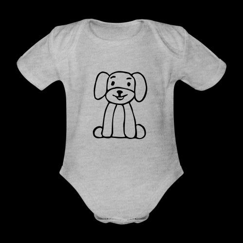 hund sitzt - Baby Bio-Kurzarm-Body