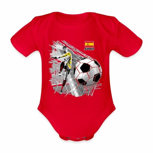 FP22F 02 SPAIN FOOTBALL - Vauvan lyhythihainen luomu-body