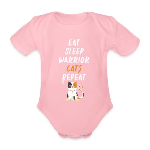 Eat sleep warrior cats repeat - Body Bébé bio manches courtes